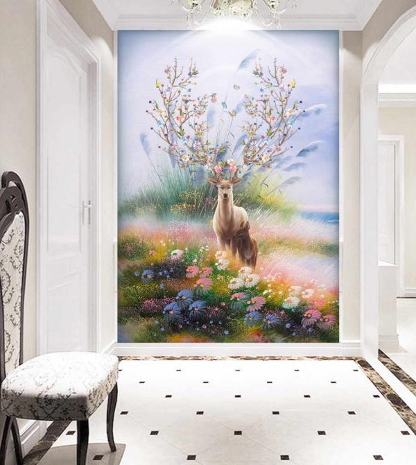پوستر دیواری اهوی زیبا بین گل های رنگی