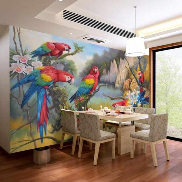 پوستر دیواری پرنده های نقاشی شده رنگی