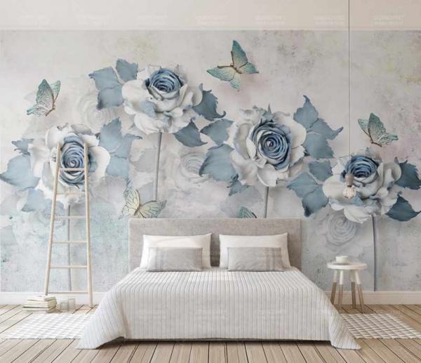 پوستردیواری شاخه گل های ابی و پروانه های زیبا