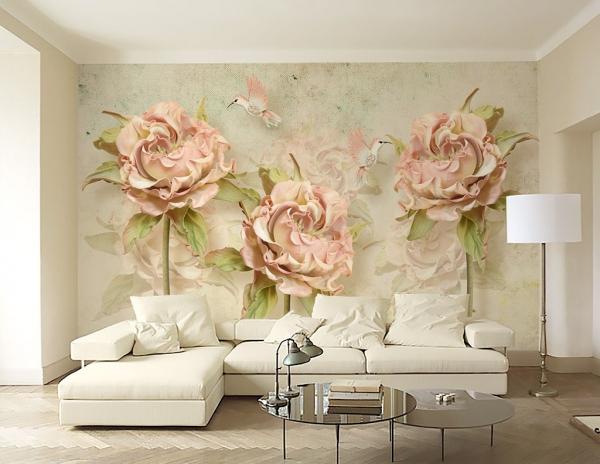 کاغذ دیواری سه بعدی گل برجسته صورتی