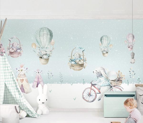 پوستر دیواری سه بعدی طرح کودکانه خرس پشمالو