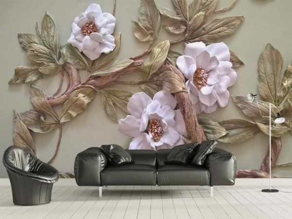 پوستر دیواری گل های زیبا با برگ های بزرگ