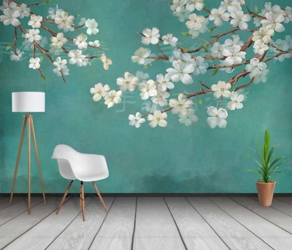 پوستردیواری شکوفه های ابرنگی سفید