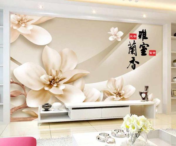 کاغذ دیواری سه بعدی گل برجسته کرمی