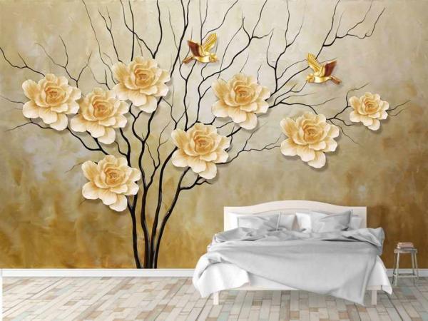کاغذ دیواری سه بعدی شاخه درخت و گل های برجسته