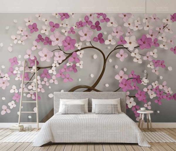 پوستر دیواری درخت شکوفه زده زیبا