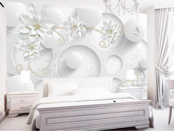 کاغذ دیواری سه بعدی گل و پروانه سفید