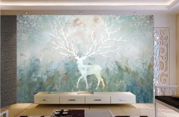 کاغذ دیواری سه بعدی گوزن ابرنگی