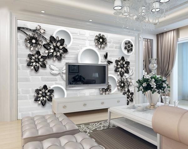 کاغذ دیواری سه بعدی گل های نگینی مشکی