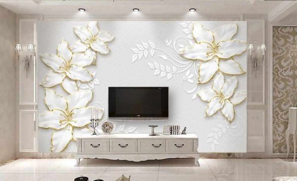 پوستر دیواری گل های سفید دور طلایی