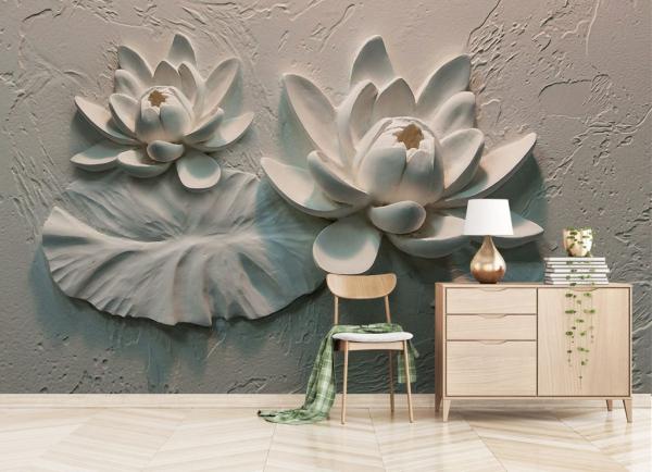 کاغذ دیواری سه بعدی گچ بری گل های بزرگ
