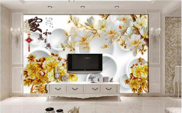 پوستر دیواری گل های طلایی با زمینه دایره ای