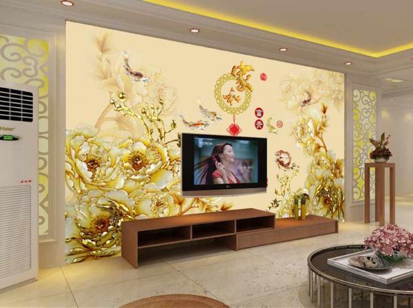 پوستر دیواری گل های طلایی شلوغ