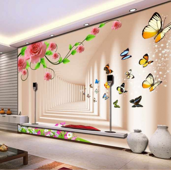 پوستردیواری تونل سه بعدی و گل های صورتی