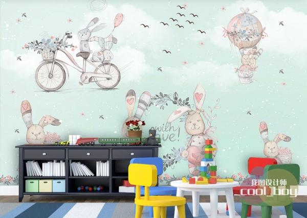 کاغذ دیواری سه بعدی طرح کودکانه خرس های عروسکی