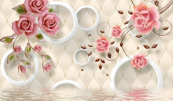 کاغذ دیواری سه بعدی شاخه گل های رز صورتی