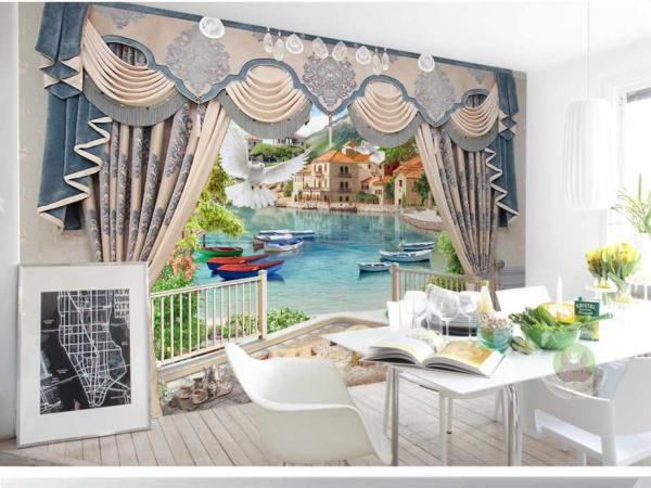 پوستر دیواری پنجره باز رو به دریای زیبا