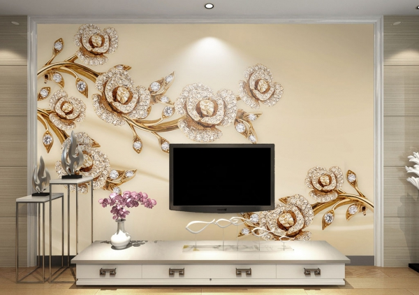 پوستر دیواری شاخه گل های طلایی