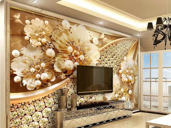 کاغذ دیواری سه بعدی گل های طلایی و نگینی