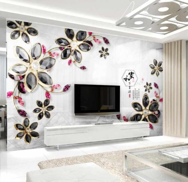 پوستر دیواری شاخه گل های مشکی