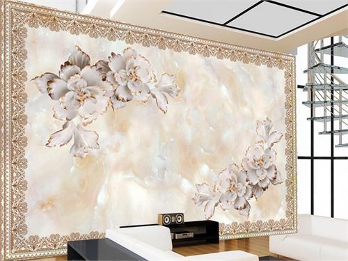 کاغذ دیواری سه بعدی طرح زیبای گرانیتی قرینه
