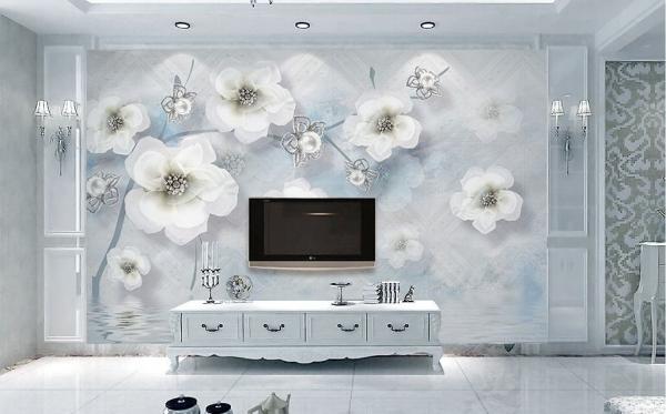 پوستر دیواری شاخه گل های ابرنگی