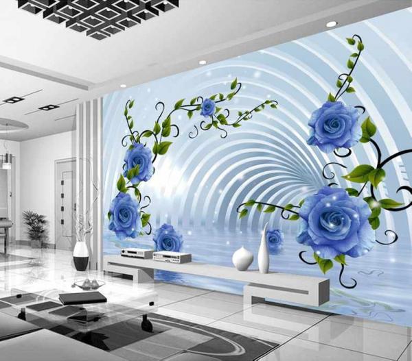 پوستر دیواری تونل و گل های ابی