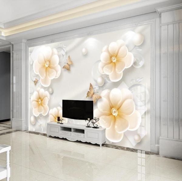 پوستر دیواری گل های سه بعدی و پروانه ها