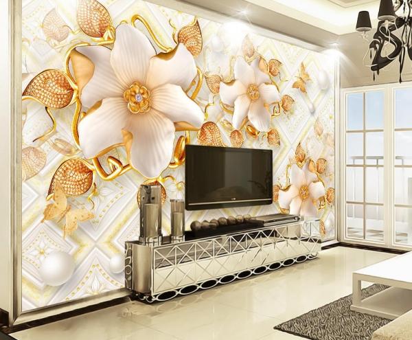 پوستر دیواری گل های سفید طلایی