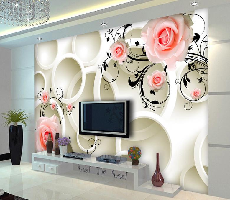 پوستر دیواری گل های رز صورتی