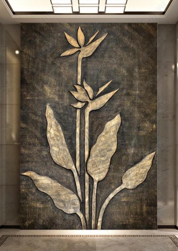پوستردیواری گل فلزی برجسته با زمینه تیره