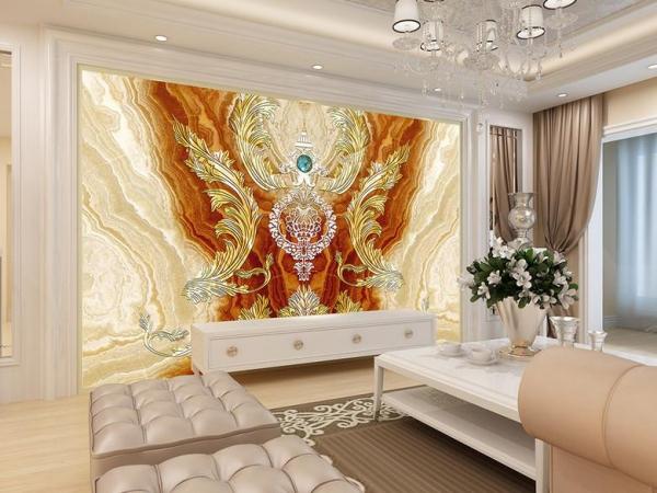 کاغذ دیواری سه بعدی تاج طلایی با زمینه مرمر