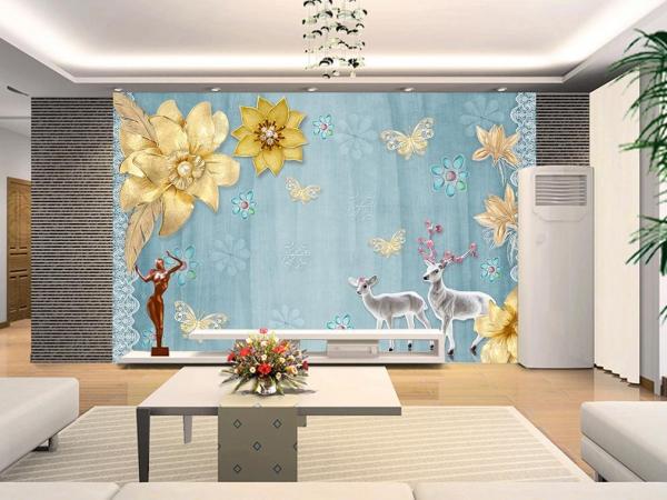 پوستر دیواری گوزن ها و گل های طلایی