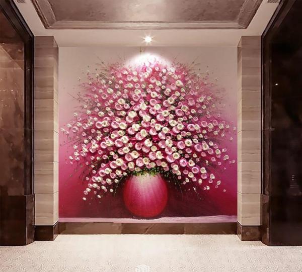 کاغذ دیواری سه بعدی نقاشی گل های ریز داخل گلدان