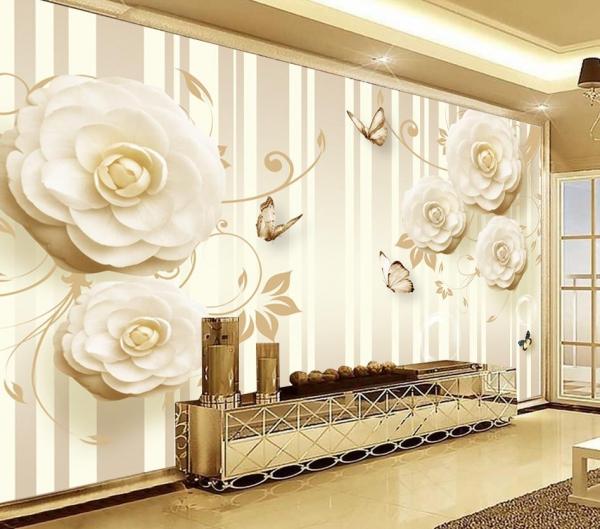 کاغذ دیواری سه بعدی پروانه و گل های برجسته