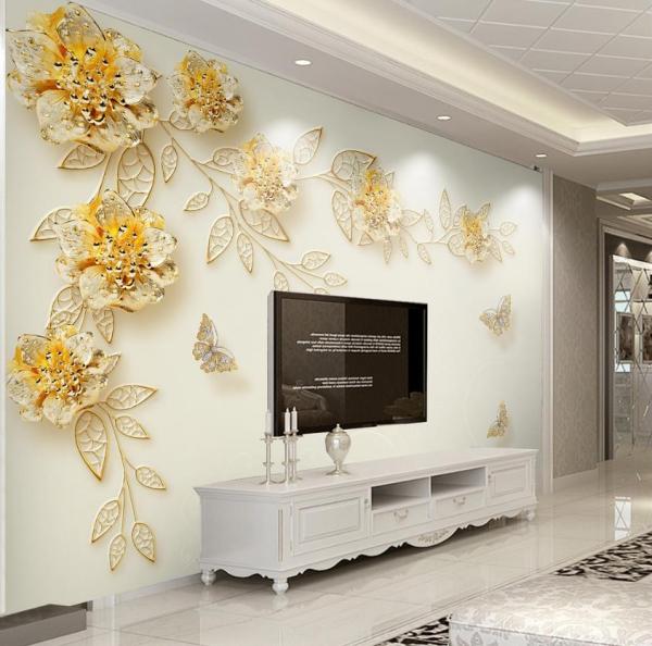 پوستر دیواری پروانه ها و گل های طلایی