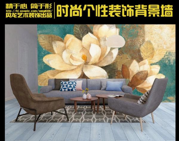 پوستردیواری گل بزرگ نقاشی شده با زمینه ابی