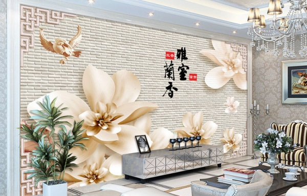 پوستر دیواری گل و دیوار اجری