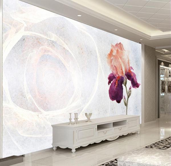 پوستر دیواری گل ابرنگی با زمینه سفید