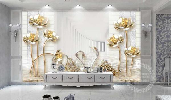 پوستر دیواری طرح سه بعدی با گل های طلایی