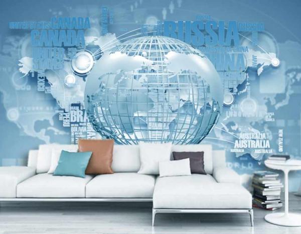 پوستر دیواری طرحی از نقشه و کره زمین