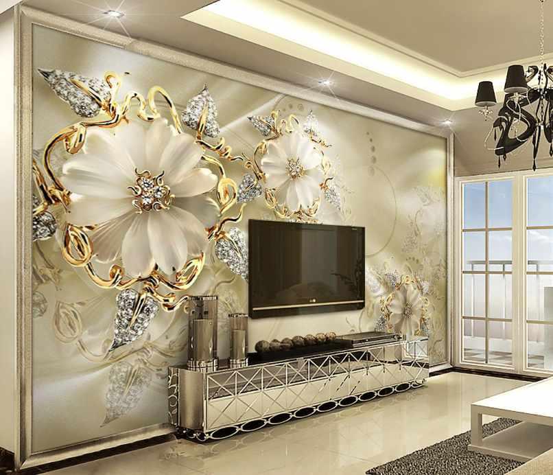 پوستر دیواری گل های بزرگ و طلایی
