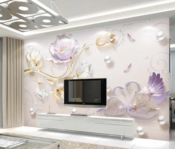 پوستر دیواری قوهای عاشق و گل های یاسی طلایی