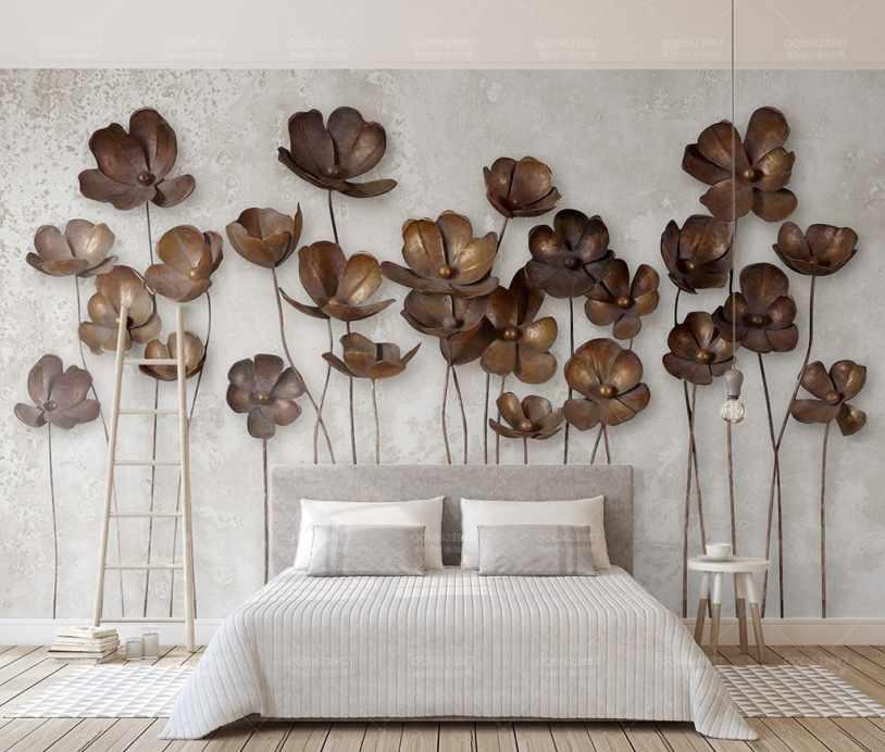 کاغذ دیواری سه بعدی گل های شاخه ایی مسی