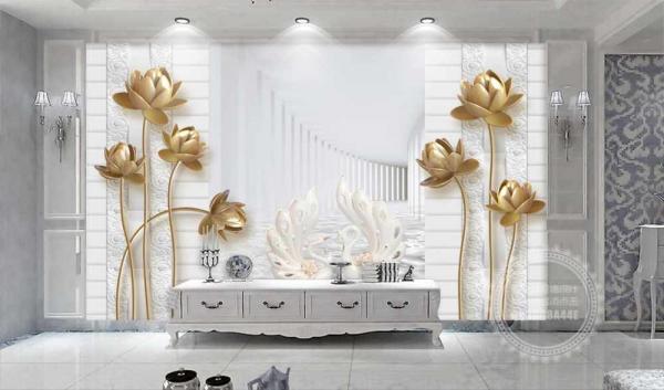 پوستر دیواری تونل سه بعدی گل های طلایی