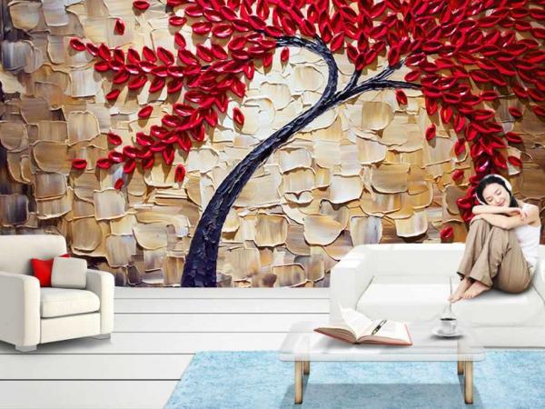 پوستر دیواری سه بعدی درخت تزئینی قرمز