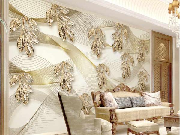پوستر دیواری طرحی سه بعدی از گل برگ ها
