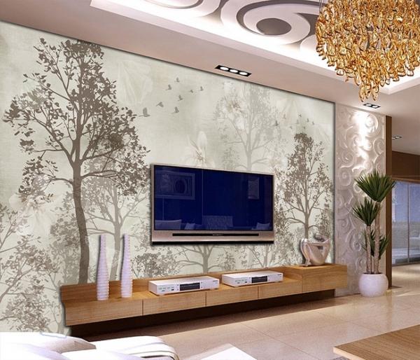 پوستر دیواری طرحی از درختان سیاه و سفید