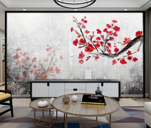 پوستر دیواری شاخه گل قرمز نقاشی شده