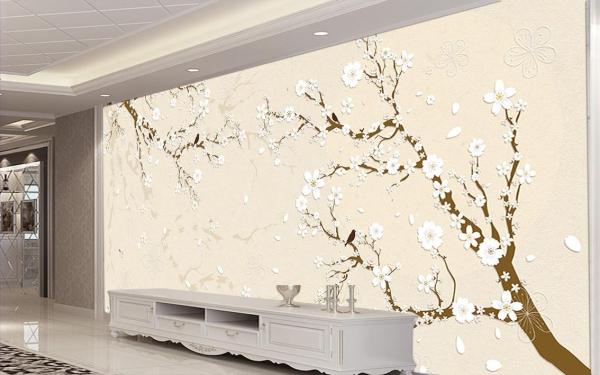 پوستر دیواری شاخه درخت با شکوفه های سفید